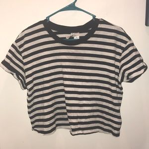 Striped black and white crop top